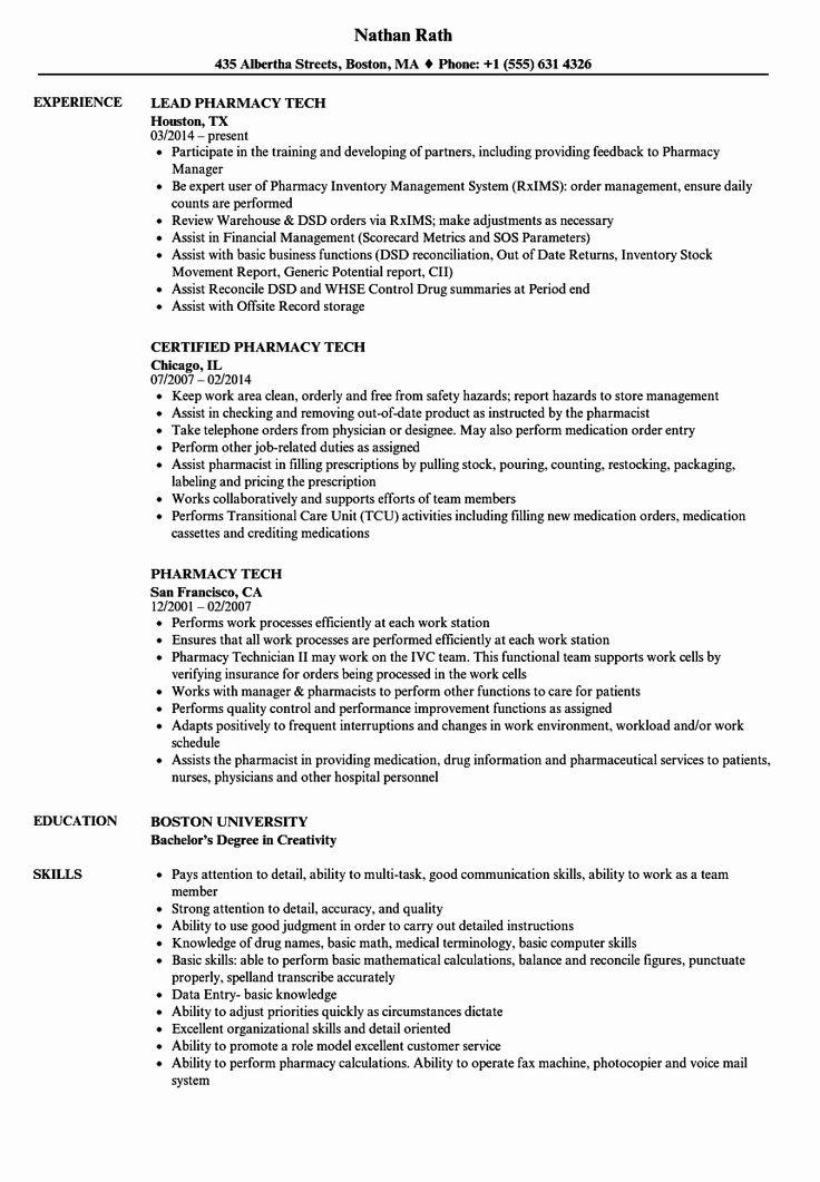 Pharmacy Tech Resume Example Luxury Pharmacy Tech Resume