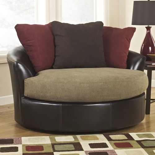 The chair we got for our new house!!! Ashley Oversized Round Swivel Chair | ... Swivel Chair > Ashley Furniture Sanya - Mocha Oversized Swivel Accent