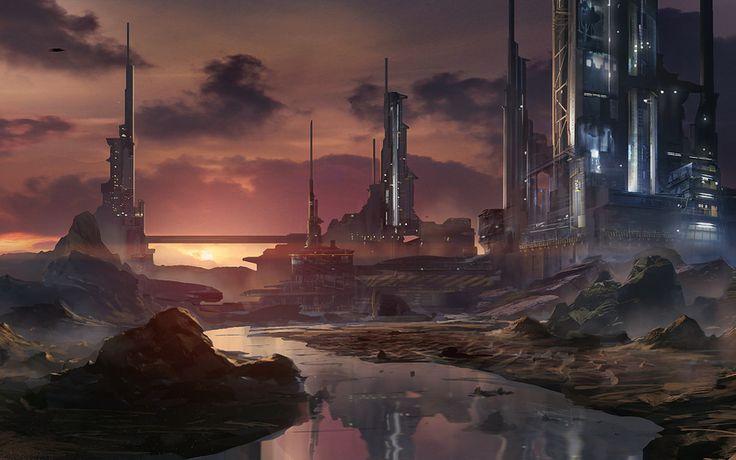 Waqas Mallick, искусство, город, река, закат, башня, будущее, научно-фантастические фильмы, фантастика