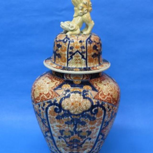 Japanese Imari Lidded Jar With Foo Dog Finial Circa 1870