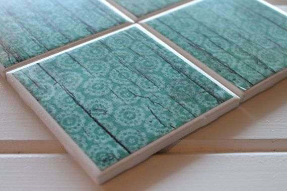 Shabby Chic Rustic Blue Four Piece Ceramic Tile by NicolesNicNacs, $8.00