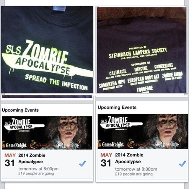 May 31st the #SLSzombieApocalypse official game starts at 8pm come and see the one only @Darrin Lavallee play live later in the night. Come and get your #SPFX #zombiemake up done by @Winnipeg Body Painting SamanthaWpg.Com out guest sponsors are @zombieammo @European Body Art #blumeno