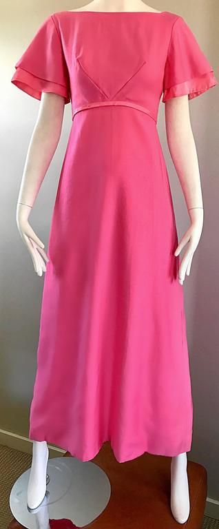 1970s Emma Domb Bubblegum Pink Short Sleeve Vintage 70s Empire Waist Maxi Dress