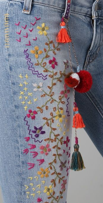 TEXTILE Elizabeth and James Embroidered Jimi Flare Jeans
