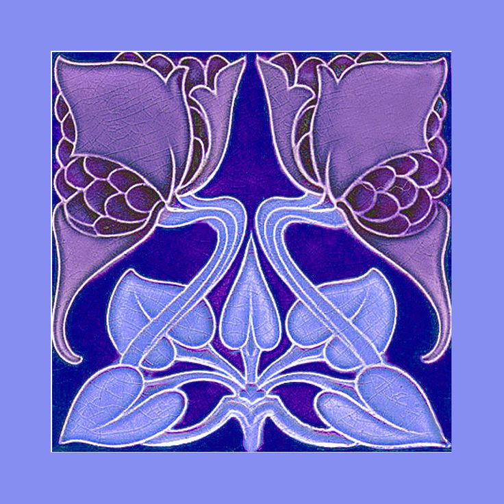 """Art Nouveau tile by Rhodes (1905-8) Courtesy Robert Smith, from his book """"Art Nouveau Tiles with Style"""". Photoshopped by Catherine Hart."""