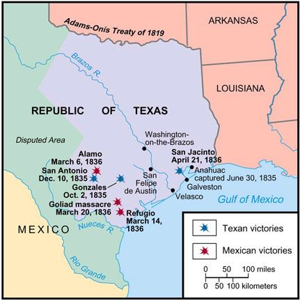 Differences between the Texas colonists and Mexican officials developed over a long time, but the major military clashes of the Texas Revolution  occurred in less than a year and were fought in a relatively small geographic area.  For additional reading, see: http://www.tshaonline.org/handbook/online/articles/qdt01
