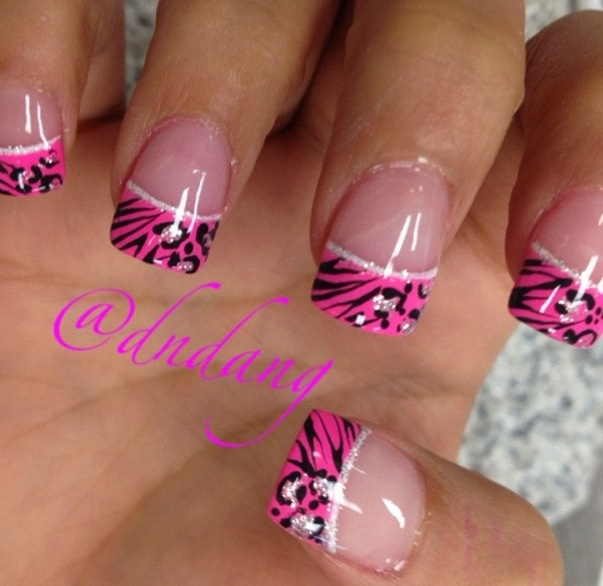Pink French manicure a little zebra a little cheetah