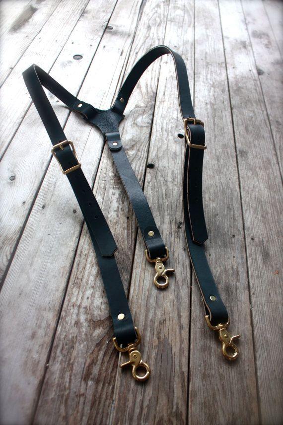Steampunk bretelles en cuir Mens avec quincaillerie en laiton
