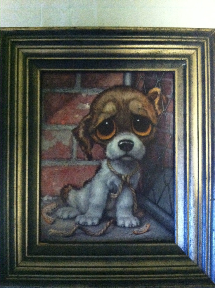 """Really Cute!  Vintage Gig 60's framed print.  Big Sad Eyes Puppy.  Very popular in the 60's.  Take this pound puppy """"Bucky"""" home today!!  Starting bid $9.99    http://www.ebay.com/itm/Vintage-Gig-60s-framed-print-BIG-EYES-Sad-PUPPY-Retro-Art-/251055640853?pt=LH_DefaultDomain_0=item3a74151115"""