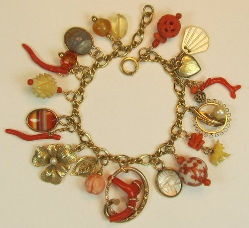 Coral Love Knot Gold Filled Charm Bracelet Scarab Pearls Agate