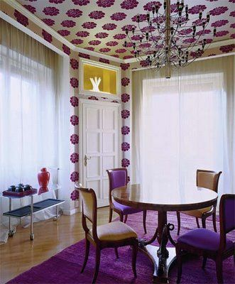 purple flower wallpaper ceiling - painting idea! Love this