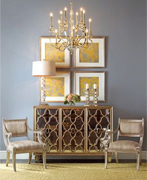 Babette Hollywood Regency Silver Leaf Mirrored Gold Lattice Sideboard - transitional - Buffets And Sideboards - Kathy Kuo Home
