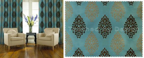Kestrel turquoise curtains and curtains on pinterest - Brown and turquoise curtains ...
