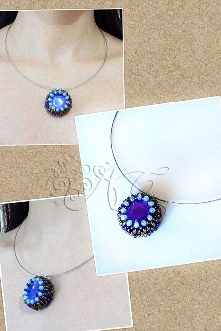 Ciondolo in acrilico incastonato con le twin beads della Preciosa Ornela e mezzi cristalli - See more at: http://ambrosiascreation.altervista.org/CP010.html#sthash.JUNgb5Qt.dpuf
