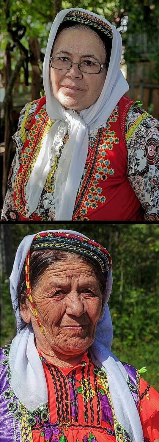Elderly women from Zümrüt köyü (in the Azdavay district, Kastamonu province) wearing their traditional daily dresses and headgear.  Including small hats, adorned with bead work.  Still in use (2010s).