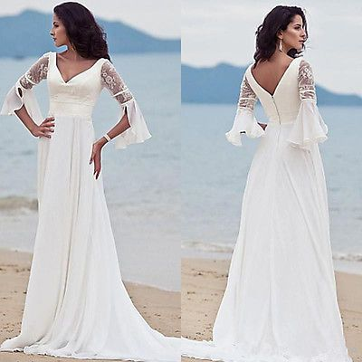 2016 Beach Chiffon V Neck Wedding Dress Lace Half Sleeve White Bridal Gown Ivory