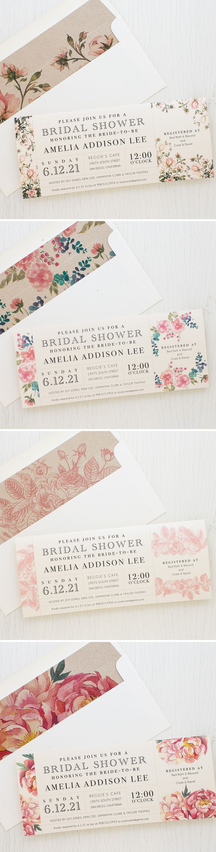 It's a girly garden party! Blush pink & floral pretty bridal shower invites. Complete with matching envelope liners. New from Beacon Lane!