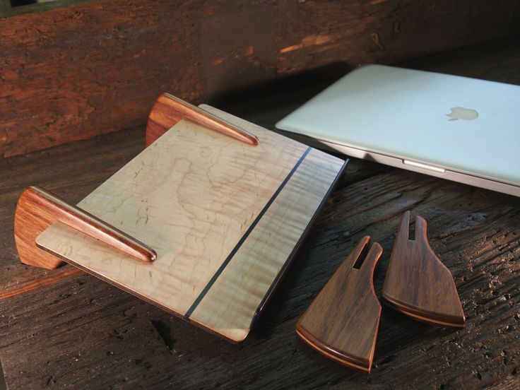Laptop Stand, low and medium  Maple, Jatoba, Port Orford Cedar, Blackwood #laptop Stand #design #office accessory