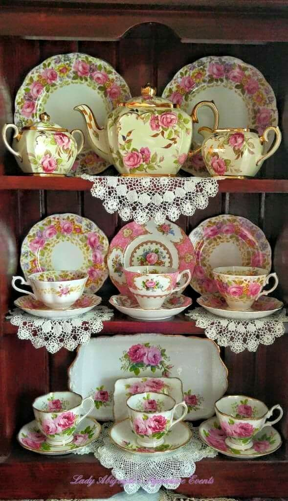 My Collection of all of my Grannies delicate dollies she made & Pretty Pink Rose Porcelain