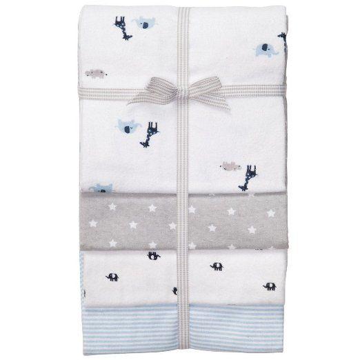 Carter's Receiving Blanket, Blue Giraffe and Elephant, 4 Count