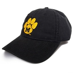 This cap features pawprint and block M embroidery on front and adjustable back for a comfortable fit.
