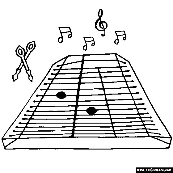 Hammered Dulcimer trapezoid coloring page
