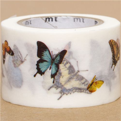 wide mt Washi Masking Tape deco tape with butterfly 1