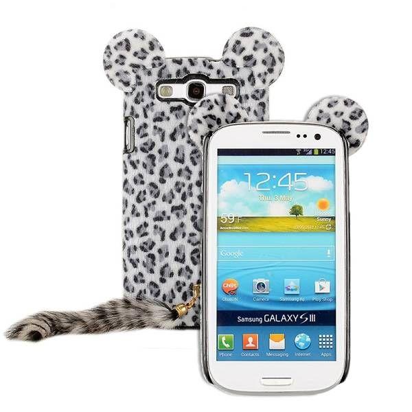 Zachte luipaard hoes met staart voor Samsung Galaxy S3