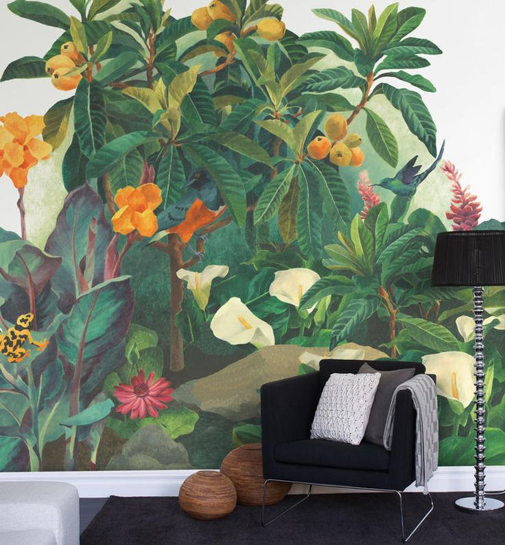 Mr. Perswall P031401-8 Vlies-Wandbild Dschungel mit Kolibri und Paradiesvogel I…