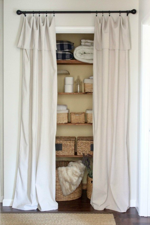 Closet Door Alternative – Easy DIY Drop Cloth Curtains