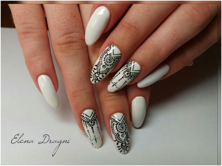 Black and white nail ideas, Ethnic nails, Indian nails, Nails with artistic painting, Original nails, Oval nails, Pattern nails, Summer nails ideas
