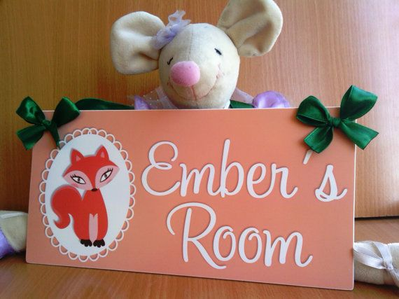 personalized girls door sign  fox baby nursery  by kasefazem, $15.99