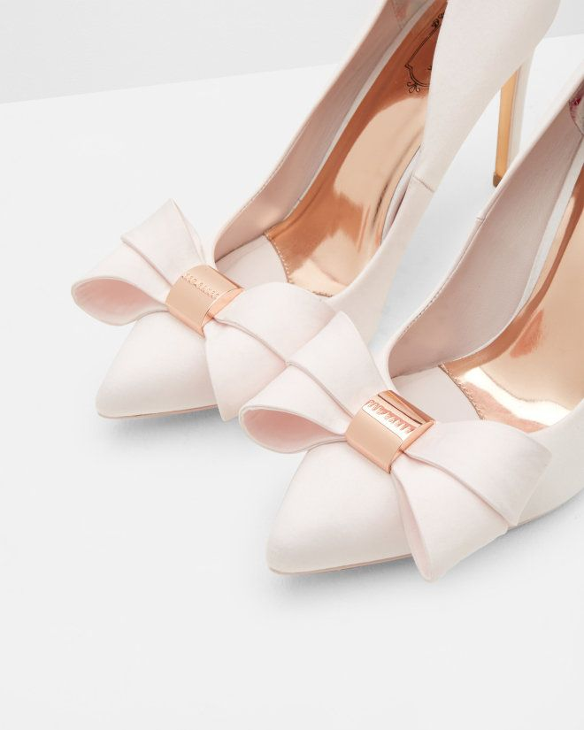 Statement bow court shoes - Light Pink | Footwear | Ted Baker UK
