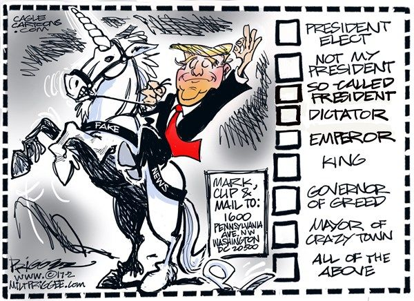 Milt Priggee - www.miltpriggee.com - Hi-OH Trump - English - Donald Trump, president, GOP, republicans, fake news, not my president, elect, king,