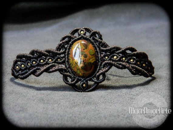 Poppy Jasper macrame bracelet. Jasper bracelet. by MacrAmorArt