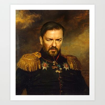 Ricky Gervais - replaceface Art Print by Replaceface - $24.95