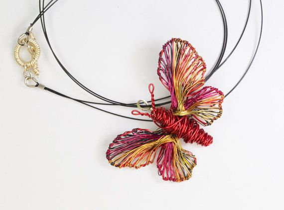 Red Butterfly necklace Wire butterfly jewelry Statement necklace pendant Birthday gift for her Boho necklace Rainbow jewelry Art to wear This red