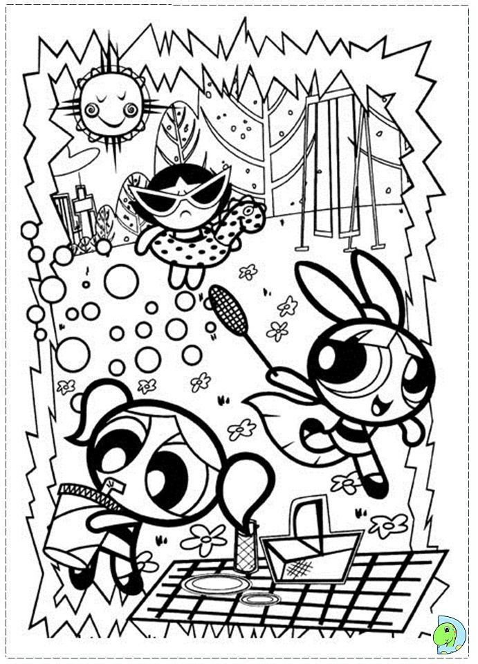 Powerpuff Girls Coloring Page Dinokids Org Coloring Pages For