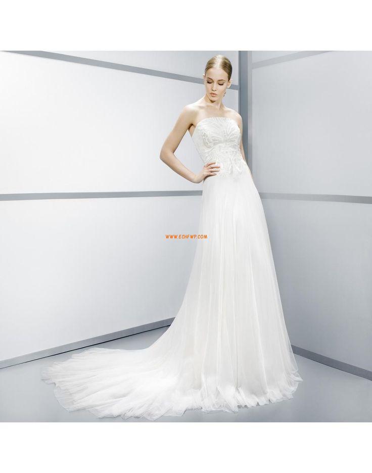 Axelbandslös Tyll Dragkedja Billiga Bröllopsklänningar