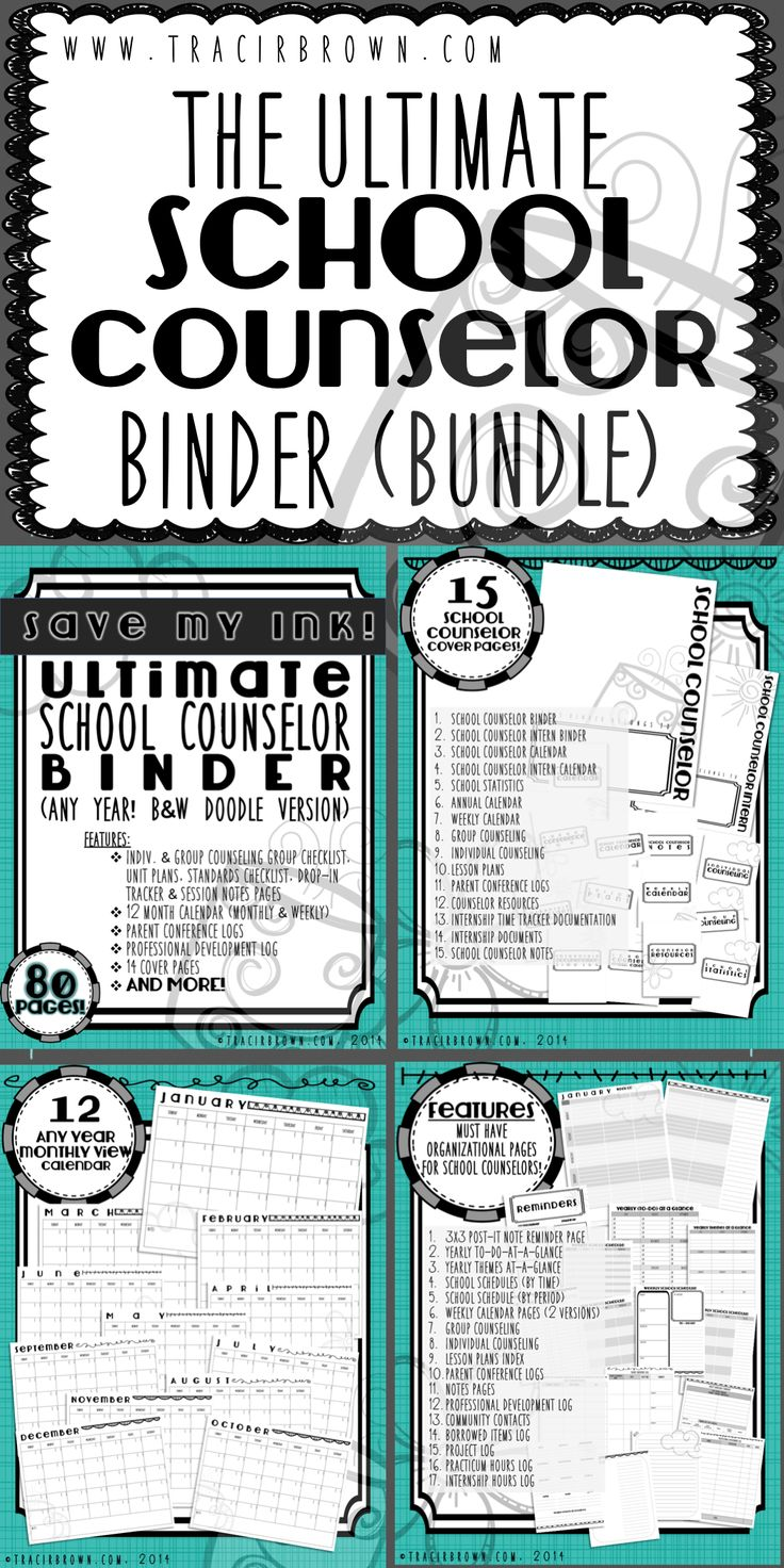 Greetings fellow School Counselors! Here is the ULTIMATE binder you have been waiting for! For ANY YEAR, Ink friendly & stylish! Get the year started off right with this great organizational tool. You will be ready to let your creative ideas flow! Also includes internship pages to help your intern get started as well! www.tracirbrown.com