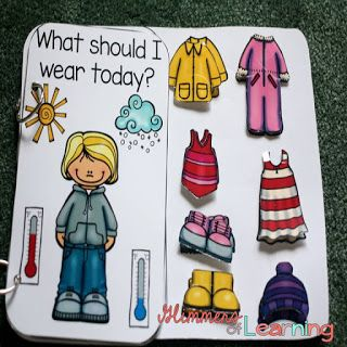 Great book for helping students with what type of clothes they should wear for each type of weather! Also great to revisit when students want to argue about what to wear outside!