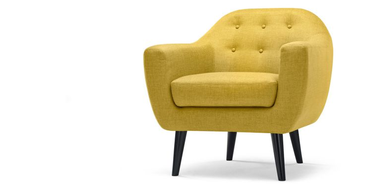 Ritchie fauteuil in okergeel | made.com