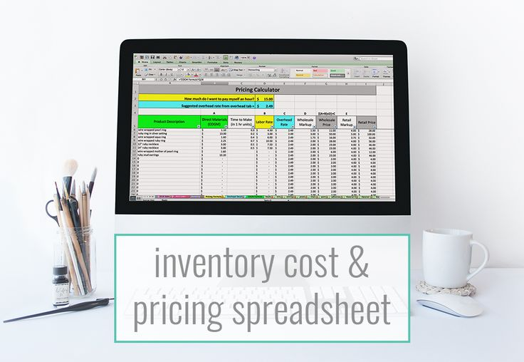 The Inventory Cost & Pricing spreadsheet from Paper + Spark - track your inventory and cost of goods sold, and use a flexible pricing formula to price for profit!