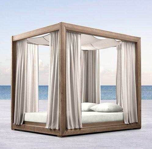 Costa Collection Weathered Teak Rh Modern Daybedcanopyteakoutdoor Furniturefinal