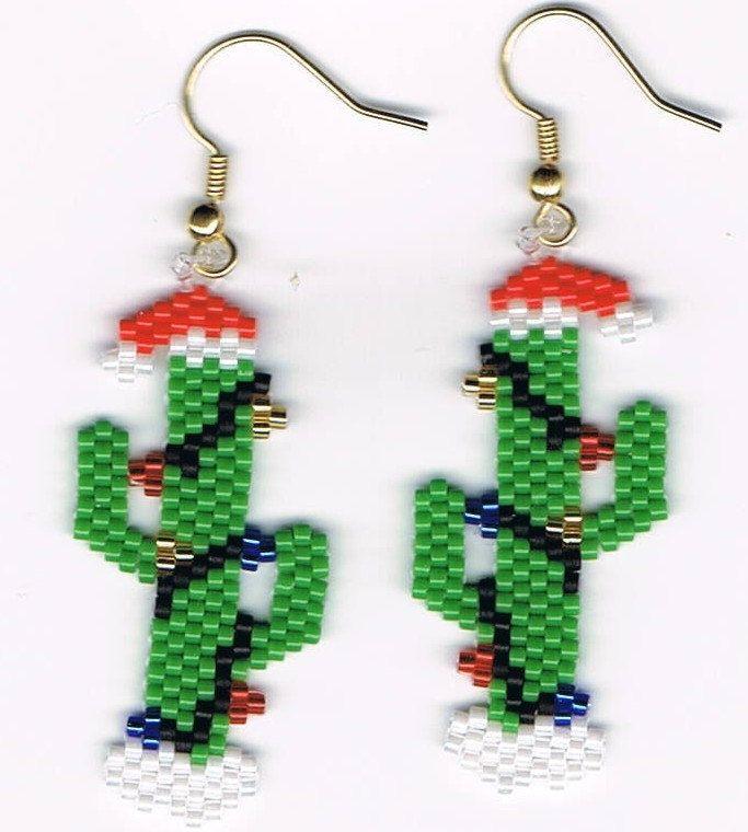 Hand Beaded Christmas Cactus dangling earrings. by beadfairy1, $11.95