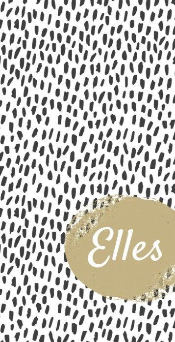 Uniek modern langwerpig geboortekaartje met een zwart wit grafisch vlekken patroon en een gouden cirkel waarin de naam staat. Stoer voor meisjes!