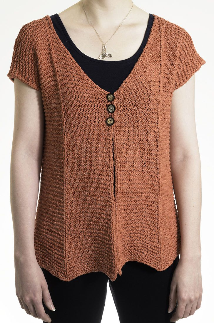 Knitting Pattern for Annie Cardigan -  This easy short-sleeved cardigan sweater features a flattering shape and chevron hem. S (M, L, XL, 2XL). Designed by Kennita Tully. Rated easy the designer.  See with other short sleeved cardigan patterns at http://intheloopknitting.com/short-sleeve-cardigan-knitting-patterns/  Or go directly to the pattern at Annie's http://www.anrdoezrs.net/links/7729443/type/dlg/sid/12573089/https://www.anniescatalog.com/detail.html?prod_id=137008