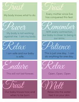 20 printable mantras for a natural, unmedicated childbirth.