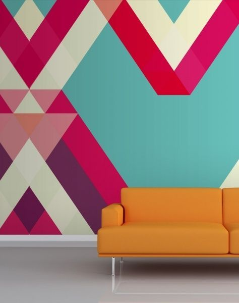 Ultra modern wallpaper with a gorgeous blue/pink geometric style.