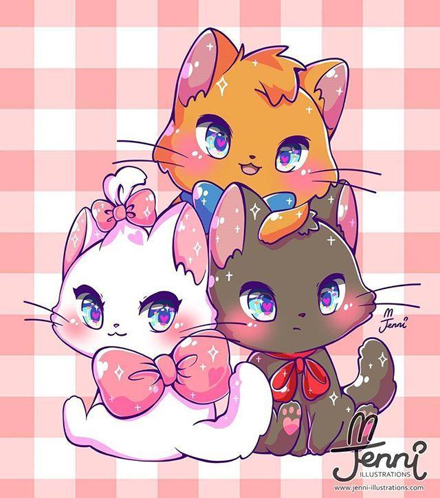 Картинки с котиками аниме с прикольными